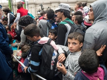 Refugees in Keleti train station, Budapest, Hungary