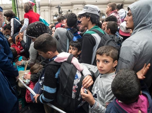 Refugees in Keleti train station, Budapest, Hungary