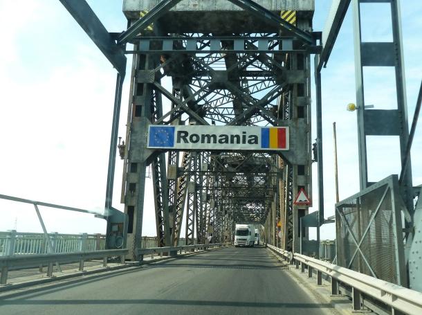 Crossing into Romania from Bulgaria on the Danube Bridge