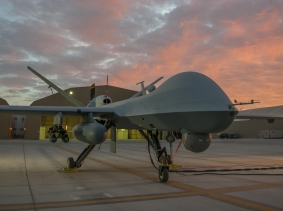 An MQ-9 Reaper on the flightline at Kandahar Airfield, Afghanistan