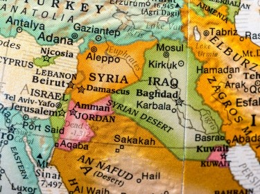 Map showing Syria and surrounding region