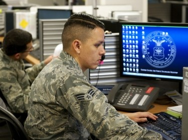 A senior airman working in defensive cyber operations at Peterson Air Force Base in Colorado Springs, Colorado