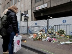 A street memorial outside the Maelbeek subway station following Tuesday's bombings in Brussels, Belgium, March 24, 2016