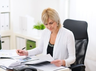 A woman working in an office