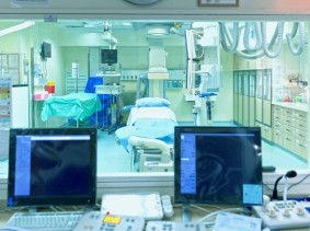 View to an operating room through an office window