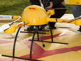 "The DHL parcel service subsidiary of Deutsche Post AG tested a ""microdrones md4-1000"" for delivery of medicine, photo by Frankhöffner/CC BY-SA 3.0"