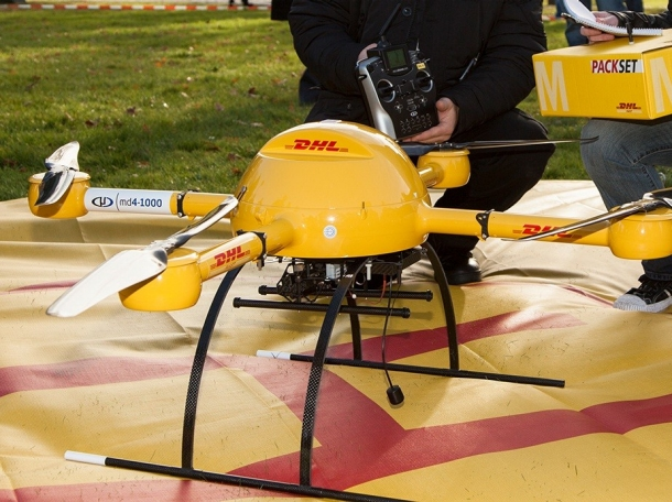 """The DHL parcel service subsidiary of Deutsche Post AG tested a """"microdrones md4-1000"""" for delivery of medicine"""