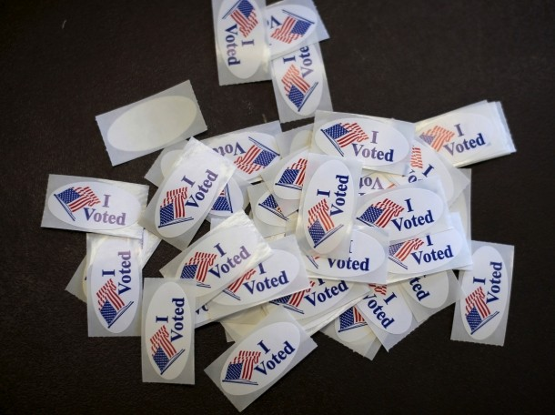 Stickers are displayed at a polling station for the Wisconsin presidential primary election in Milwaukee, Wisconsin, April 5, 2016