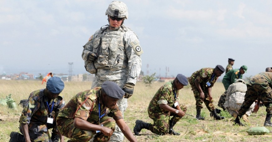 A team of U.S. Army soldiers from Combined Joint Task Force-Horn of Africa lead counter-IED training with the Kenyan Army
