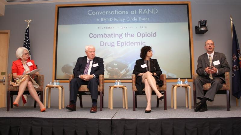 Karen Wolk Feinstein, Michael Flaherty, Karen Hacker, and Bradley Stein discuss the opioid epidemic at a RAND event on May 12, 2016