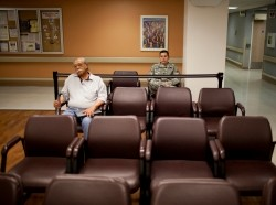 Veterans waiting for their appointments at the VA Medical Center in El Paso, Texas