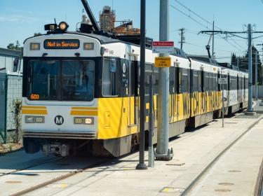Metro Expo Line westbound train about to turn onto Colorado Avenue in Santa Monica