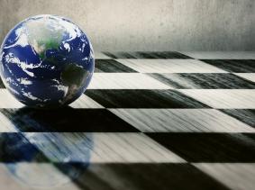Globe on a chessboard