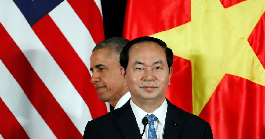 U.S. President Barack Obama attends a press conference with Vietnam's President Tran Dai Quang at the Presidential Palace Compound in Hanoi, Vietnam, May 23, 2016