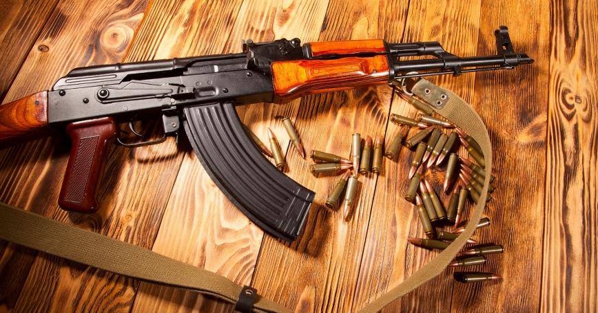 Kalashnikov assault rifle with ammunition