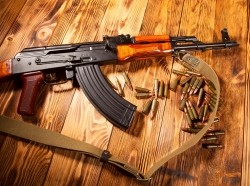 Kalashnikov assault rifle with ammunition