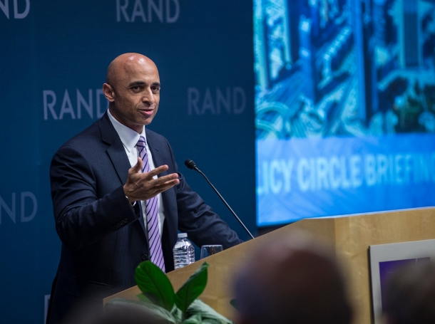 Yousef Al Otaiba, United Arab Emirates ambassador to the United States, speaks at RAND's headquarters campus in Santa Monica, California, June 1, 2016