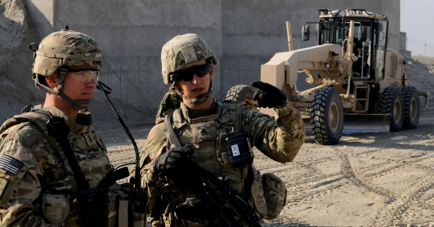 U.S. troops train Afghan soldiers to operate equipment in Laghman Province, Afghanistan, January 2014