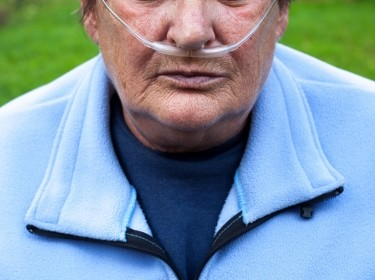 Elderly woman with oxygen supplement (COPD)