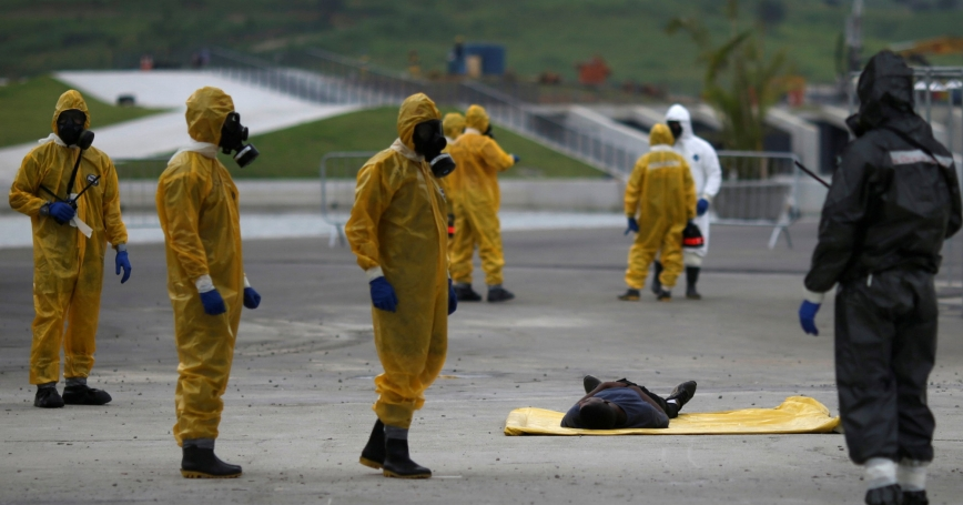 Brazilian Army soldiers take part in a simulation of decontamination of multiple victims during a training against chemical, biological, radiological, and nuclear attacks ahead of the 2016 Rio Olympics, March 11, 2016