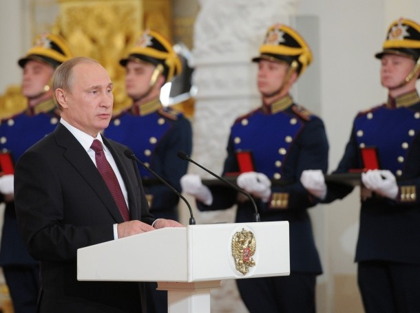 President Vladimir Putin speaks during an award ceremony marking the Day of Russia at the Kremlin in Moscow, June 12, 2016