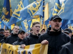 The Ukrainian national guard Azov regiment and activists of the Azov civil corp protest local elections in pro-Russian rebel-held areas of eastern Ukraine under the Minsk peace agreement, May 20, 2016