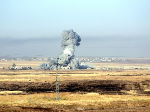 Smoke rises after airstrikes from the U.S.-led coalition against Islamic State militants in a village east of Mosul, Iraq, May 29, 2016