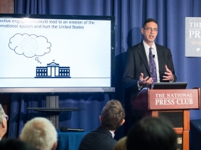 RAND senior economist Howard Shatz discussing his report, U.S. International Economic Strategy in a Turbulent World, at the National Press Club in Washington, D.C., June 21, 2016, photo by Lindsay King