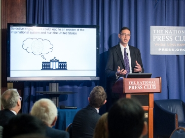 RAND senior economist Howard Shatz discussing his report, U.S. International Economic Strategy in a Turbulent World, at the National Press Club in Washington, D.C., June 21, 2016