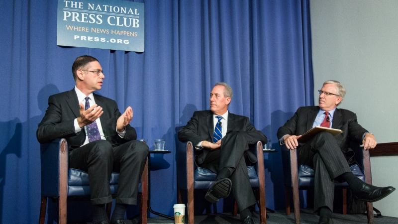RAND senior economist Howard Shatz, U.S. Trade Representative Michael Froman, and Ambassador Charles Ries discuss trade and Brexit at the National Press Club in Washington, D.C., June 21, 2016