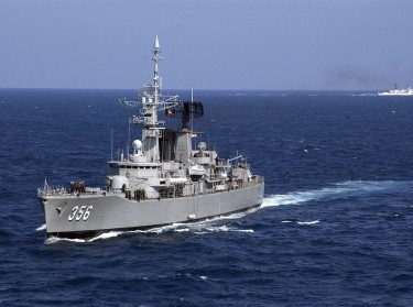 The Indonesian frigate KRI Karel Satsuit Tubin in an exercise with the USCG Cutter Sherman, July 15, 2006