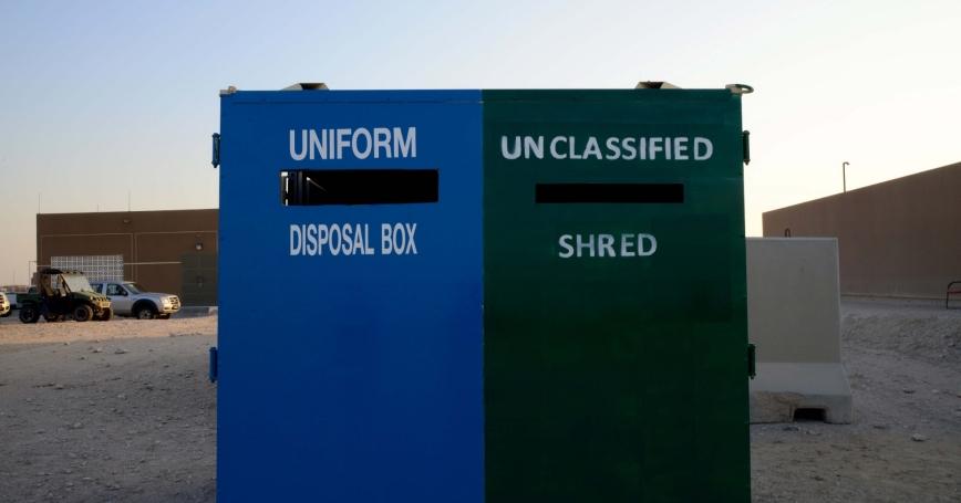 Massive unclassified paper shred and uniform drop-off bins help prevent OPSEC violations