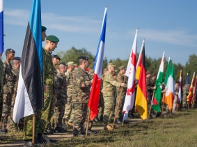 Partner nations parading their colors at the opening ceremony of Combined Endeavor 2014 in Grafenwohr, Germany, photo by Maj. Jason Rossi/U.S. Air Force/CC BY-NC-ND 2.0