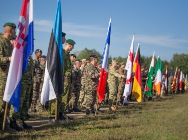 Partner nations parading their colors at the opening ceremony of Combined Endeavor 2014 in Grafenwohr, Germany