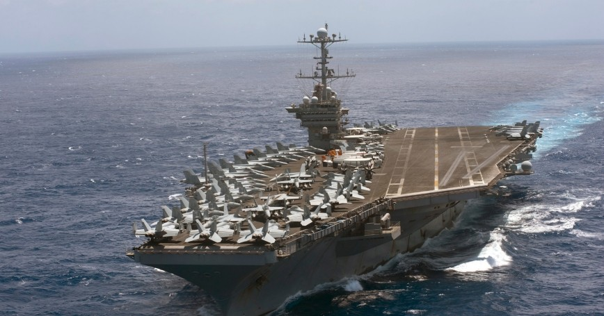 The aircraft carrier USS Harry S. Truman transits the Atlantic Ocean on a deployment in support of maritime security operations and theater security cooperation efforts