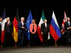 World foreign ministers/secretaries of state in Vienna, Austria, July 14, 2015, when Iran and six major world powers reached a nuclear deal, photo by Bundesministerium fur Europa, Integration und Ausseres/CC BY 2.0