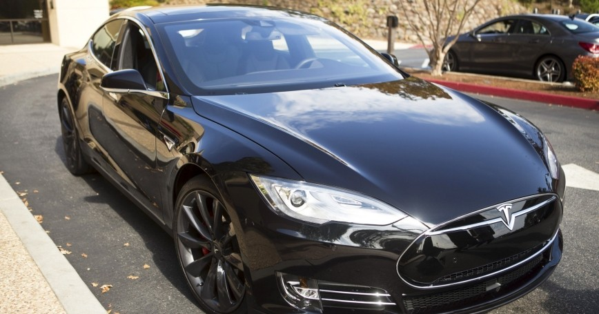 A Tesla Model S with version 7.0 software update containing Autopilot features is seen during a Tesla event in Palo Alto, California, October 14, 2015