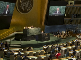 Iranian Foreign Minister Mohammad Javad Zarif addresses the 2015 Review Conference of the Parties to the Treaty on the Non-Proliferation of Nuclear Weapons (NPT) at United Nations headquarters in New York, April 27, 2015