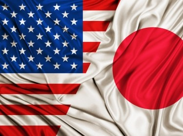 The U.S. and Japanese flags blend together