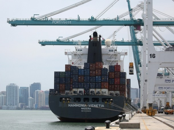 A ship is unloaded using Super Post Panamax cranes in Miami, Florida, May 19, 2016