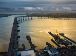 Aerial view of the Coronado Bridge, which connects San Diego and Coronado, at dusk