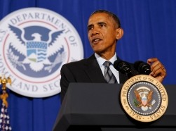 U.S. President Barack Obama speaks about the FY2016 budget at the Department of Homeland Security in Washington, February 2, 2015