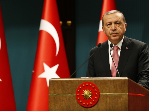 Turkish President Recep Tayyip Erdogan speaks during a news conference at the Presidential Palace in Ankara, July 20, 2016