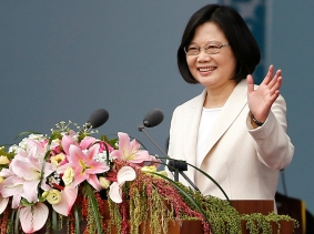 Taiwan's President Tsai Ing-wen waves during her inauguration ceremony in Taipei, Taiwan, May 20, 2016
