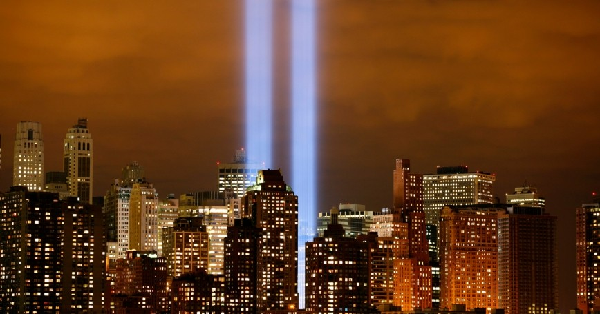 The 'Tribute in Lights' shines on the skyline of lower Manhattan in New York City, September 11, 2006