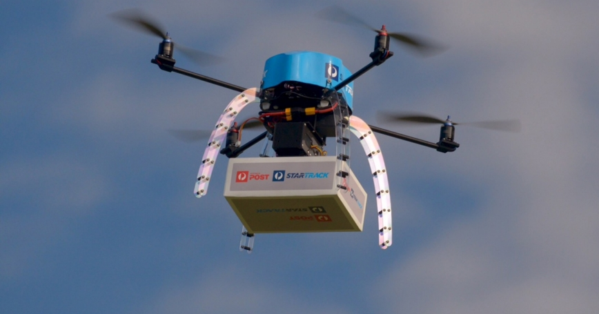 An Australia Post drone is pictured during a delivery trial in Melbourne, April 15, 2016