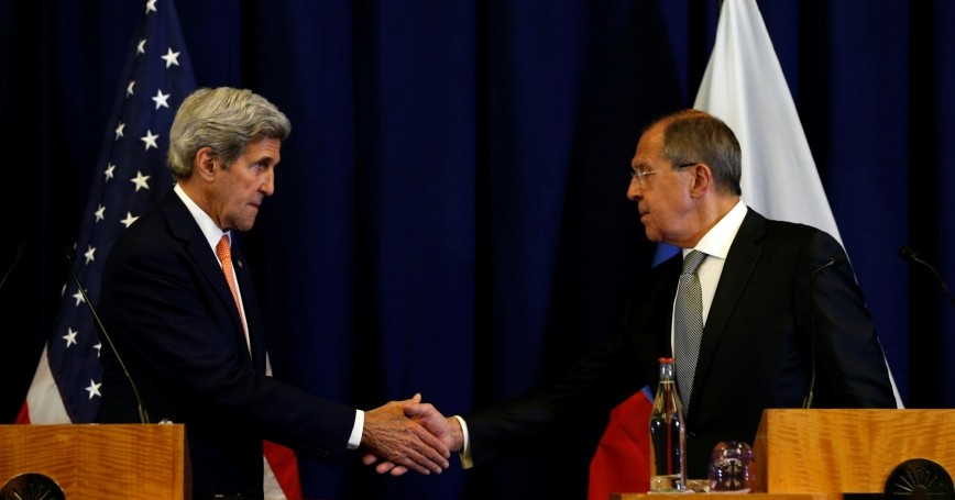 U.S. Secretary of State John Kerry and Russian Foreign Minister Sergei Lavrov shake hands following their meeting in Geneva, Switzerland, September 9, 2016