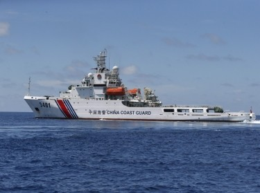 A Chinese Coast Guard vessel is pictured on the disputed Second Thomas Shoal, part of the Spratly Islands, in the South China Sea, March 29, 2014