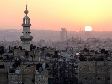 The sun sets over Aleppo, Syria as seen from the rebel-held part of the city, October 5, 2016