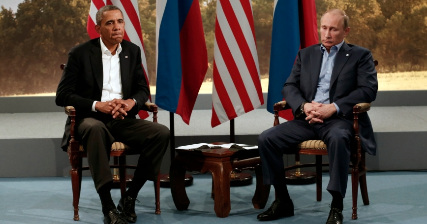 U.S. President Barack Obama (left) meets with Russian President Vladimir Putin during the G8 Summit at Lough Erne in Enniskillen, Northern Ireland, June 17, 2013
